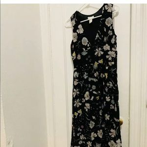 H&M Long Floral Dress with Liner Size 8
